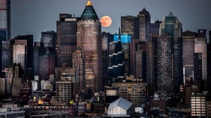 Supermoon in Manhattan skyline