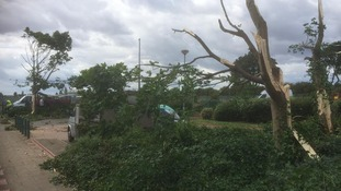 Council workers trying to clear away debris left in wake of mini-tornado