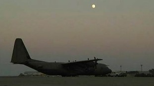 A RAF C-130 cargo plane was forced to abort its mission in Iraq.