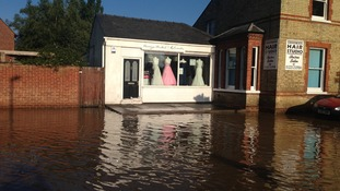 Flooding outside Honeys bridal.