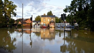 Flooding in Oakington, Cambridgeshire.