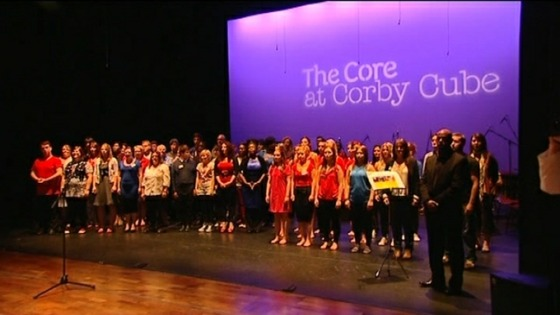 The Queen went to the Corby Cube after the swimming pool where she was entertained by a choir and dancers