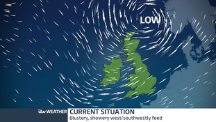 The weekend's low pressure system to the north of the UK.  This feeds in a strong showery flow from westerly quarter