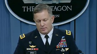 Gen William Mayville speaking at a press briefing.