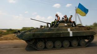 A Ukrainian army tank