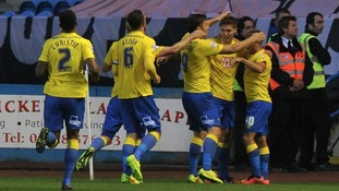 Jeff Hendrick (2nd right) celebrates putting Derby ahead