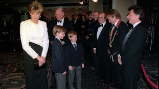 Princess Diana with her two sons Prince William and Harry (R), meets Robin Williams