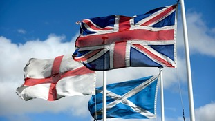 The flags of St George, the flag of Scotland and the Great Britain