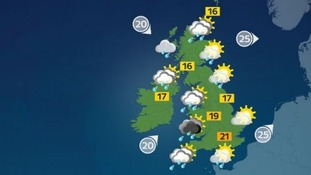 Locally heavy rain or showers with some sunshine