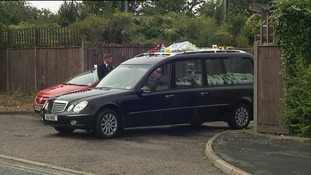 The hearse at Conor McColl's funeral.