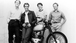 Actor Henry Winkler as The Fonz (second left) with some of the cast of Happy Days.