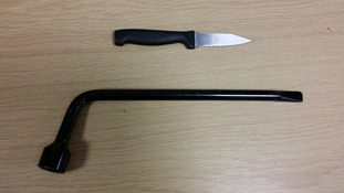 An image of the knife and brace which were to be used in the attack.