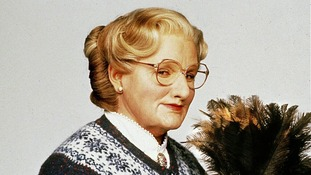 Robin Williams as Mrs Doubtfire in the 1993 film by director Chris Columbus.