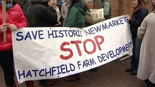 Protesters against plans for homes at Hatchfield Farm.