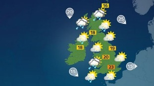 Sunny spells and isolated showers, remaining breezy