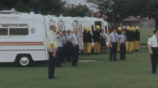 Emergency services on hand to help following the crash in 1981.
