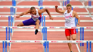 William Sharman (left) during the Men's 110m Hurdles Heats in Zurich.