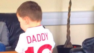 Wayne and Coleen's son Kai ready to support his Dad at Euro 2012.