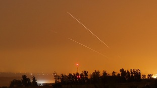 Israel's Iron Dome defence system intercepts a rocket from Gaza.
