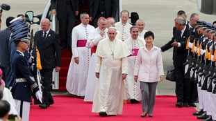 Pope Francis arrives in South Korea.