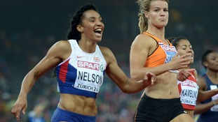 Ashleigh Nelson celebrates third place in the Women's 100m Final