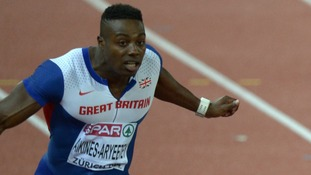 Loughborough's Harry Aikines-Aryeetey crosses the line third in the final of the 100m