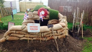 Air raid shelter display.
