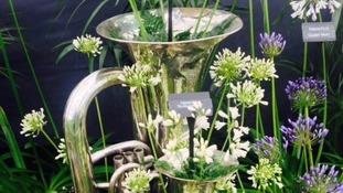 A claret jug display.