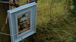 A picture of Keith tied to a fence on the moors.