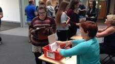 Students collect their results at Northampton College.