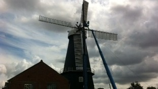 The fourth new sail at Heckington Windmill goes into place