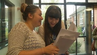 Students at Moulsham High School in Chelmsford get their A-level results.