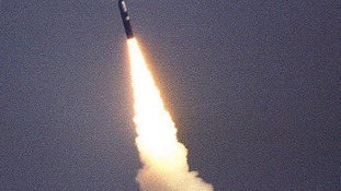 Test firing a Trident missile.