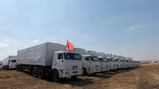 The 280 trucks have been stood at the Ukrainian border as the Ukraine has so far refused to let them in.