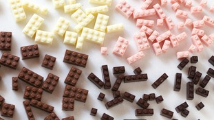 Chocolate 'Lego' in milk, dark, white, and strawberry flavours.