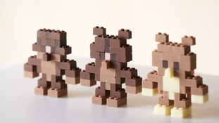 Three of Mizuuchi's choccie lego creations