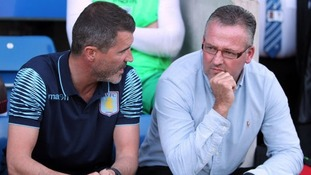 Aston Villa manager Paul Lambert (right) and assistant Roy Keane
