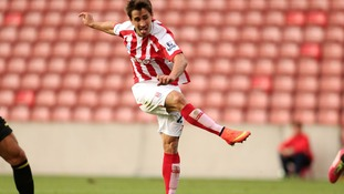 Stoke City's Bojan Krkic scores during the pre-season friendly at the Britannia Stadium