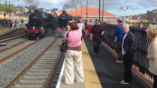 Historic trains side by side on Whitby's new second platform
