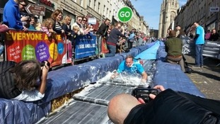 Bristol welcomed a water slide to its city centre earlier this year.
