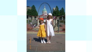 Holly and her sister in America.