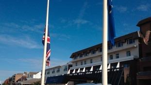Flags at half-mast at the Dalmeny Hotel as a mark of respect