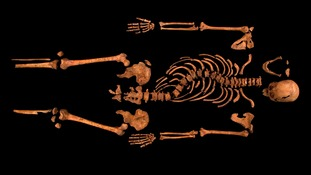 King Richard III's skeleton after being found underneath the council car park