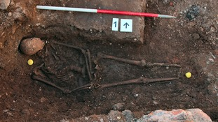 Richard III's skeleton in-situ during the excavation of the Greyfriar's car park