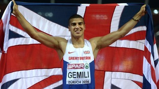 Great Britain's Adam Gemili celebrates winning the Men's 200m final