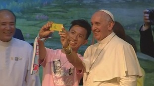 Pope Francis poses for a selfie on South Korea trip