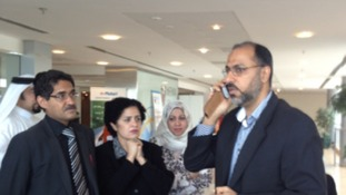 Dr Ahmed al Omran receives a call from the court relaying today's verdict. His own conviction was quashed.