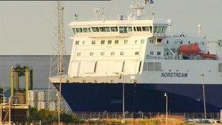 The P&O ship Norstream leaving Tilbury Docks