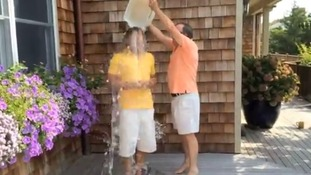 Chris Anderson accepts Bill Gates' challenge and dumps a bucket of ice on his head