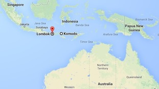 Map of Komodo and Lombok islands
